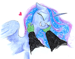 Size: 999x787 | Tagged: safe, artist:t72b, derpibooru exclusive, princess luna, oc, oc:anon, alicorn, human, pony, cute, disembodied hand, ethereal mane, eyes closed, female, floppy ears, galaxy mane, hand, happy, heart, human on pony petting, lunabetes, mare, missing accessory, offscreen character, petting, pov, scratching, traditional art