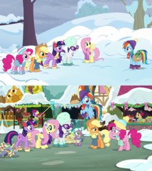 Size: 1280x1440 | Tagged: alicorn, applejack, background pony, berry punch, berryshine, best gift ever, cherry cola, cherry fizzy, comparison, dragon, earth pony, female, fluttershy, male, mane six, pegasus, pinkie pie, pony, rainbow dash, rarity, safe, screencap, season 5, season 8, snow, spike, tank, tanks for the memories, tortoise, twilight sparkle, twilight sparkle (alicorn), unicorn, winged spike, winter clothing