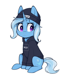 Size: 968x1150 | Tagged: safe, artist:higgly-chan, trixie, pony, unicorn, beanie, blushing, clothes, cute, diatrixes, drawing, female, hat, hoodie, huf, mare, simple background, sitting, solo, sweater, white background