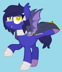 Size: 916x1068 | Tagged: alternate universe, anti-hero, armor, artist:shoto, balancing, base used, bat ponified, bat pony, bat wings, blue background, blue hair, boots, cape, clothes, colored pupils, crossover, cute, cute little fangs, digital art, ear fluff, ear tufts, eyeliner, fangs, femboy, fluffy hair, frown, galaxia, glare, guard, hair over one eye, headcanon, hooves, kirby, knight, lgbt headcanon, lidded eyes, looking at you, makeup, male, mask, meta knight, nintendo, pegasus, ponified, pony, race swap, raised hoof, raised leg, safe, shoes, shoulder pads, show accurate, simple background, solo, species swap, spread wings, stallion, standing, sword, teeth, trans boy, transgender, unamused, wall of tags, weapon, wings, yellow eyes
