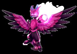 Size: 3762x2647   Tagged: safe, artist:honeybbear, oc, pegasus, pony, armor, helmet, offspring, parent:princess cadance, parent:shining armor, parents:shiningcadance, simple background, solo, transparent background, weapon
