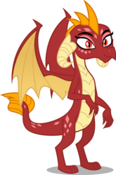 Size: 800x1211   Tagged: safe, garble, princess ember, dragon, dragoness, female, palette swap, recolor, simple background, solo, transparent background