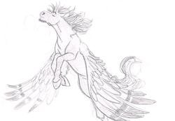 Size: 1261x874   Tagged: safe, artist:carnivorouscaribou, oc, oc:rolling thunder, pegasus, pony, flying, male, monochrome, offspring, parent:princess cadance, parent:shining armor, parents:shiningcadance, solo, stallion, traditional art