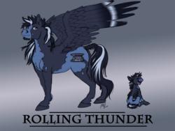 Size: 1280x965   Tagged: safe, artist:carnivorouscaribou, oc, oc:rolling thunder, pegasus, pony, colt, male, offspring, parent:princess cadance, parent:shining armor, parents:shiningcadance, solo, stallion