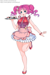 Size: 794x1200 | Tagged: safe, artist:draltruist, pinkie pie, human, alternate hairstyle, anime, breasts, busty pinkie pie, clothes, commissioner:imperfectxiii, female, flats, food, humanized, pigtails, raised leg, shoes, simple background, solo, sushi, tray, waitress