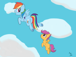 Size: 1500x1125 | Tagged: safe, artist:augjodo, rainbow dash, scootaloo, pegasus, pony, blank flank, cloud, colored, digital art, dock, duo, female, flying, frog (hoof), mare, scootaloo can fly, sky, underhoof