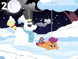 Size: 1024x768 | Tagged: safe, artist:bronybyexception, scootaloo, pegasus, pony, advent calendar, broom, can, christmas, clothes, full moon, hat, holiday, irn-bru, moon, sad, scarf, scootaloo can't fly, show accurate, snow, snowpony, the snowman, top hat, tree