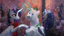 Size: 600x338 | Tagged: safe, artist:wolfiedrawie, oc, oc:cosmia nebula, oc:lurid shadow, carrot, clothes, food, scarf, snow, snowmare, winter