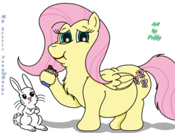 Size: 2201x1677 | Tagged: safe, artist:puffydearlysmith, angel bunny, fluttershy, pegasus, pony, angel is not amused, belly, big belly, candy bar, chest fluff, chocolate, crossed arms, eating, fat, fattershy, female, food, hoof hold, male, mare, smiling