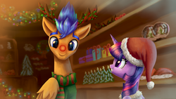 Size: 4096x2304 | Tagged: alicorn, antlers, artist:nightpaint12, box, christmas, christmas lights, christmas tree, clothes, cute, female, flashlight, flash sentry, hat, hearth, holiday, male, mare, pegasus, pony, present, red nose, red nosed reindeer, safe, santa hat, shipping, smiling, snow, snow globe, snowman, stallion, straight, sweater, tree, twiabetes, twilight sparkle, twilight sparkle (alicorn)