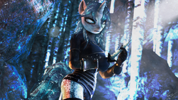 Size: 3690x2076 | Tagged: safe, artist:princeoracle, oc, oc only, oc:ice thorn, unicorn, anthro, 3d, anthro oc, cave, clothes, female, high res, icicle, mare, solo, source filmmaker