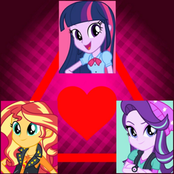 Size: 1500x1500 | Tagged: edit, editor:axal-5, equestria girls, equestria girls (movie), equestria girls series, female, geode of empathy, heart, lesbian, love triangle, magical geodes, mirror magic, safe, shimmerglimmer, shipping, smiling, spoiler:eqg specials, starlight glimmer, sunset shimmer, sunsetsparkle, triangle, twilight sparkle, twishimmerglimmer, twistarlight, watch