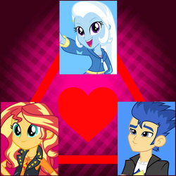 Size: 1500x1500 | Tagged: bisexual, equestria girls, equestria girls series, female, flashimmer, flash sentry, geode of empathy, lesbian, love triangle, magical geodes, male, safe, sentrixie, shipping, straight, sunset shimmer, suntrix, trixie