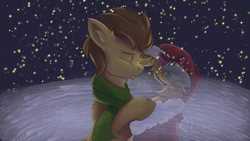 Size: 3840x2160 | Tagged: safe, artist:ardail, artist:jacobsyndeo, derpy hooves, doctor whooves, time turner, pegasus, pony, alone, bow, broken hearts, christmas, clothes, crying, cute, derpabetes, doctorbetes, doctorderpy, ear fluff, eyes closed, female, hat, hearth's warming eve, heartwarming, holiday, hug, imagination, imagining, kissing, lonely, longing, male, mare, memories, memory, outdoors, romance, sad, santa hat, scarf, shipping, snow, snowfall, stars, straight, vision, winter