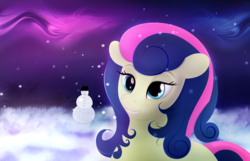 Size: 3511x2268 | Tagged: adorabon, artist:startledflowerpony, bon bon, cute, night, pony, safe, snowman, solo, sweetie drops