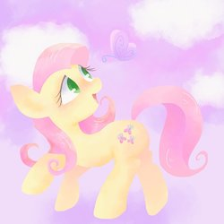 Size: 1447x1447 | Tagged: safe, artist:1drfl_world_end, fluttershy, butterfly, pony, female, head turn, looking at something, looking up, mare, open mouth, smiling, solo, species swap, wingless