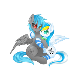 Size: 1800x1800 | Tagged: 2019 community collab, artist needed, clothes, couple, derpibooru community collaboration, female, heterochromia, hug, male, oc, oc:bender drede, oc:lh12, oc only, one eye closed, pegasus, pony, safe, scarf, simple background, socks, source needed, sparkling, stockings, striped socks, thigh highs, transparent background, wings, wink
