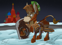 Size: 2500x1844 | Tagged: alcohol, armor, artist:bigcdoodles, brass, card game, cold, game design, moscow, mule, night, oc, oc:copper kick, oc only, safe, shield, snow, twilight sparkle's secret shipfic folder