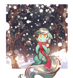 Size: 1322x1404 | Tagged: safe, artist:mirroredsea, lyra heartstrings, pony, unicorn, :o, big tail, clothes, colored pupils, cute, desktop background, female, floppy ears, forest, fourth wall, lyrabetes, mare, night, open mouth, scarf, scenery, sitting, snow, snowfall, solo, tree, wallpaper, winter