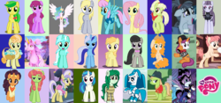 Size: 900x420 | Tagged: alicorn, alphabet, apple fritter, berry punch, berryshine, derpy hooves, dj pon-3, earth pony, electric blue, fluttershy, granny smith, hacksaw mccolt, inky rose, jenny wakeman, junebug, kyara, lyra heartstrings, mia and me, minuette, my life as a teenage robot, noi, octavia melody, pear butter, pegasus, ponified, pony, power ponies, princess celestia, quiet gestures, raspberry vinaigrette, safe, saffron masala, tile, tree hugger, unicorn, upper crust, vinyl scratch, wallflower blush, yuma spurs, zapp