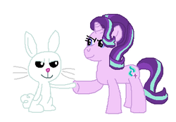 Size: 416x290 | Tagged: safe, artist:drypony198, angel bunny, starlight glimmer, female, hoofbump, interspecies, male, shipping, starbunny, straight