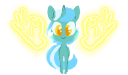 Size: 1280x755 | Tagged: safe, artist:whale, lyra heartstrings, pony, unicorn, :>, cute, ear fluff, female, glow, hand, looking at you, lyra doing lyra things, lyrabetes, magic, magic aura, magic hands, mare, simple background, smiling, solo, transparent background, 👌