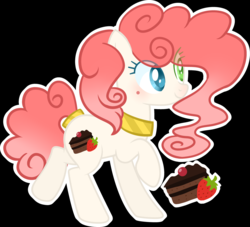 Size: 3725x3387 | Tagged: safe, artist:heartmoondance, oc, oc:strawberry cake, earth pony, pony, base used, beauty mark, black background, choker, curly hair, cutie mark, eye clipping through hair, female, heterochromia, jewelry, mare, mole, offspring, outline, parent:cheese sandwich, parent:pinkie pie, parents:cheesepie, raised hoof, simple background, solo, tail jewelry, white outline