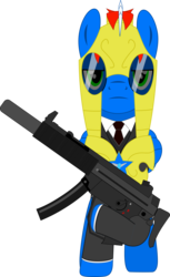 Size: 1400x2285 | Tagged: safe, artist:rd4590, oc, oc:vortex clipper, pegasus, pony, alternate universe, armor, clothes, gun, heckler and koch, looking at you, mp5sd, necktie, royal guard armor, submachinegun, suit, sunglasses, suppressor, vector, weapon