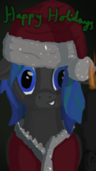 Size: 4320x7680 | Tagged: absurd res, artist:littlepony115, candle, christmas, clothes, costume, female, front view, hat, holiday, lineless, mare, oc, oc only, oc:solar eclipse, pegasus, pony, safe, santa costume, santa hat, solo