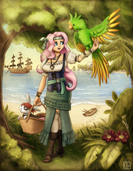Size: 1280x1640 | Tagged: safe, artist:king-kakapo, angel bunny, fluttershy, human, parrot, bandana, basket, beach, boat, boots, clothes, commission, cute, dinghy, dress, eyepatch, humanized, ocean, pirate, pirate fluttershy, pirate ship, pirateshy, sailship, ship, shoes, shyabetes, side slit, skirt, socks, thigh highs, vest