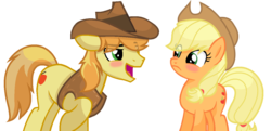 Size: 1274x616 | Tagged: applecest, applejack, artist:sapphireartemis, blushing, braeburn, braejack, female, incest, male, pony, safe, shipping, simple background, story included, straight, transparent background