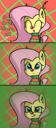 Size: 1964x4475 | Tagged: safe, artist:artiks, fluttershy, changeling, animal costume, antlers, changeling feeding, christmas, christmas changeling, comic, costume, dialogue, disguise, disguised changeling, fake fluttershy, female, holiday, kitchen eyes, licking, licking lips, mare, red nose, reindeer antlers, reindeer costume, solo, this will end in tears and/or death, tongue out