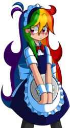 Size: 729x1326 | Tagged: safe, artist:kurus22, rainbow dash, human, blushing, clothes, cuffs (clothes), cute, dashabetes, eye clipping through hair, female, humanized, light skin, maid, pixiv, rainbow dash always dresses in style, simple background, solo, transparent background, tsunderainbow, tsundere
