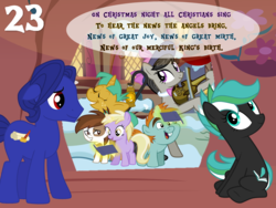 Size: 1024x768 | Tagged: safe, artist:bronybyexception, dinky hooves, octavia melody, pipsqueak, snails, snips, oc, oc:cobalt quill, oc:mountain sound, earth pony, pony, unicorn, advent calendar, book, christmas, dinkysqueak, female, floppy ears, holiday, lamp, magic, male, shipping, singing, straight, sussex carol, telekinesis, violin