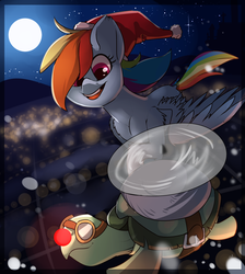 Size: 1700x1900 | Tagged: artist:passigcamel, aviator goggles, chest fluff, christmas, duo, female, flying, full moon, goggles, hat, holiday, male, mare, moon, night, pegasus, pony, propeller, rainbow dash, red nose, safe, santa hat, smiling, stars, tank, tortoise