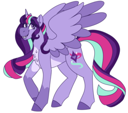 Size: 1516x1347 | Tagged: alicorn, artist:unicorn-mutual, female, magical lesbian spawn, mare, oc, oc:nova andromeda, offspring, parent:starlight glimmer, parents:twistarlight, parent:twilight sparkle, pony, safe, simple background, solo, transparent background