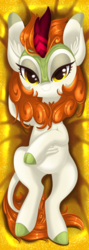 Size: 1024x2882 | Tagged: artist:okapifeathers, autumn blaze, body pillow, body pillow design, female, kirin, looking at you, safe, smiling, solo, sounds of silence