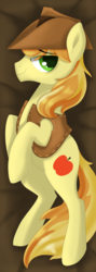 Size: 1024x2882 | Tagged: artist:okapifeathers, body pillow, body pillow design, braeburn, clothes, earth pony, hat, male, pony, safe, smiling, solo, stallion