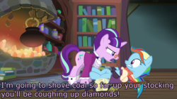 Size: 1920x1080 | Tagged: a hearth's warming tail, caption, discovery family logo, edit, edited screencap, futurama, image macro, rainbow dash, robot santa claus, safe, screencap, snowdash, snowfall frost, starlight glimmer