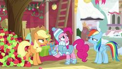 Size: 1280x720 | Tagged: safe, applejack, pinkie pie, rainbow dash, pony, triple pony dare ya, apple, female, food, hearth's warming tree, tree