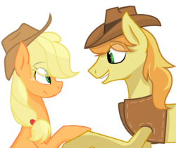 Size: 1162x980 | Tagged: applecest, applejack, artist:sapphireartemis, braeburn, braejack, cousins, female, incest, male, pony, safe, shipping, simple background, story included, straight, transparent background