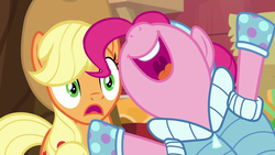 Size: 1280x720 | Tagged: safe, screencap, applejack, pinkie pie, triple pony dare ya, nose in the air