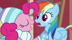 Size: 1280x720 | Tagged: safe, screencap, pinkie pie, rainbow dash, triple pony dare ya