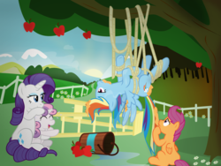 Size: 4000x3000 | Tagged: safe, artist:sollace, rainbow dash, rarity, scootaloo, sweetie belle, pegasus, pony, unicorn, apple, bucket, confused, crying, food, giggling, hanging, hanging upside down, ladder, laughing, missing cutie mark, rope, spread wings, sunset, tangled up, tears of laughter, tied up, tree, tree sap and pine needles, upside down, vector, water, wings
