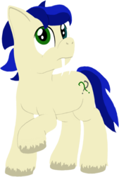 Size: 811x1200 | Tagged: 2019 community collab, artist:quint-t-w, derpibooru community collaboration, heterochromia, oc, oc only, oc:silly words, original species, sabertooth pony, safe, simple background, solo, transparent background, unshorn fetlocks