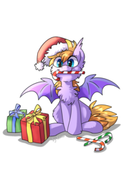 Size: 1280x1744 | Tagged: safe, artist:kaliner123, oc, oc only, oc:kaliner, bat pony, bat pony oc, candy, candy cane, cheek fluff, chest fluff, christmas, female, food, hat, holiday, merry christmas, present, santa hat, simple background, solo, transparent background