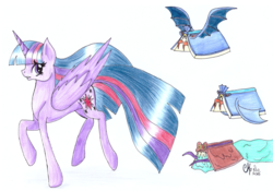 Size: 1744x1218 | Tagged: alicorn, artist:shadow-nights, book, color pencil, do princesses dream of magic sheep, female, flying books, mare, monster book, newbie artist training grounds, older, older twilight, paper, pony, safe, signature, simple background, solo, traditional art, twilight sparkle, twilight sparkle (alicorn), white background