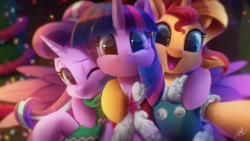 Size: 2000x1125 | Tagged: safe, artist:light262, starlight glimmer, sunset shimmer, twilight sparkle, alicorn, pony, unicorn, c:, cape, cheek fluff, christmas, christmas tree, clothes, cute, daaaaaaaaaaaw, ear fluff, female, fluffy, glimmerbetes, happy, hnnng, holiday, hug, leg fluff, looking at you, mare, one eye closed, open mouth, right neighborhood, scarf, selfie, shimmerbetes, side hug, smiling, sparkles, sweater, tree, trio, twiabetes, twilight sparkle (alicorn), wink