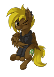 Size: 4677x6614 | Tagged: safe, artist:calena, oc, oc only, oc:bricomaniaco, pegasus, pony, 2019 community collab, derpibooru community collaboration, absurd resolution, blinking, cloth, looking at you, requested art, simple background, solo, transparent background