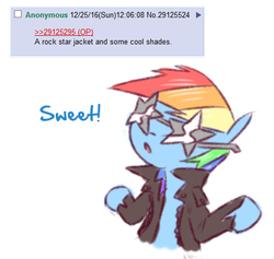 Size: 482x456 | Tagged: safe, artist:raridashdoodles, rainbow dash, clothes, female, glasses, jacket, solo, stars